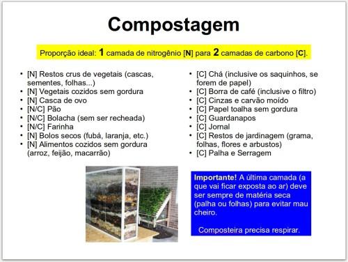 Eis uma tabela de referência rápida do que é N e do que é C. E é isso. Dentro de 90 dias a parte TOPO estará pronta e a parte MEIO estará com composto para ser usado em outras compostagens.